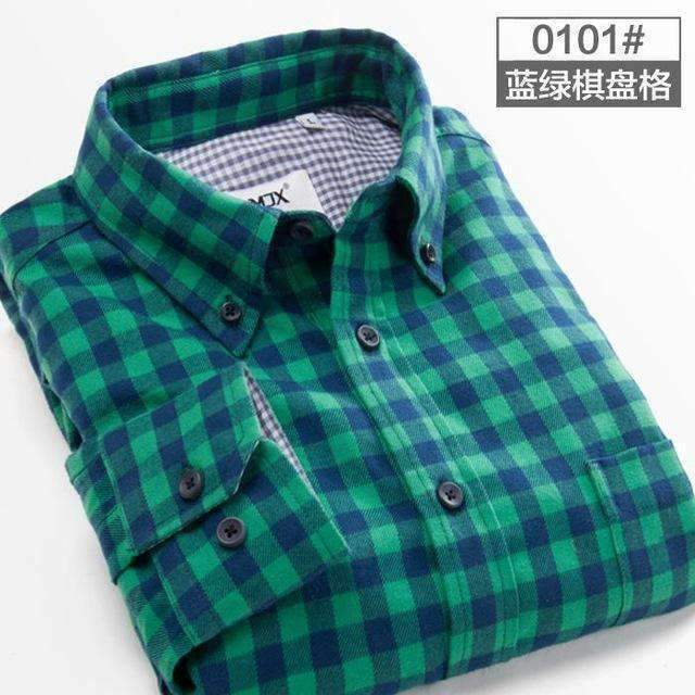 Mens Plaid Shirts Long-Sleeve Formal Shirts-[product_tag]-My MALL Metro