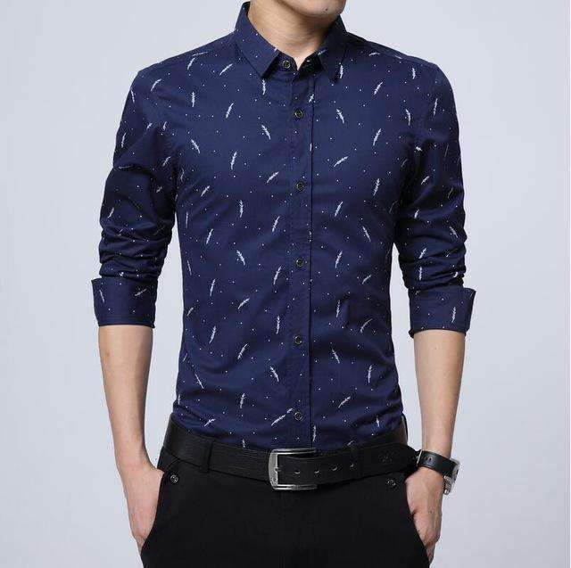 Cotton Slim Fit Long-Sleeve Shirt-[product_tag]-My MALL Metro
