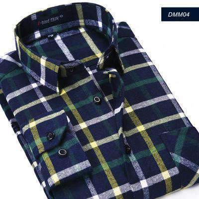 Mens Plaid Shirts Long-Sleeve Slim Fit Flannel Cotton Shirts-[product_tag]-My MALL Metro