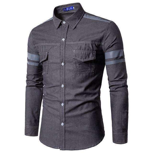 Mens Denim Shirts Long-Sleeve Shirts-[product_tag]-My MALL Metro