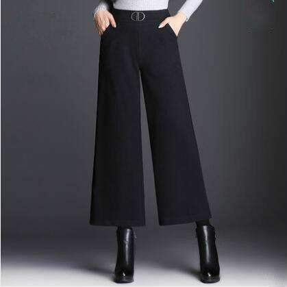 loose Plus-Size Elastic-Waist ankle-length wide-leg pants trousers-[product_tag]-My MALL Metro