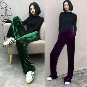 Long wide-leg Velvet Pants-[product_tag]-My MALL Metro