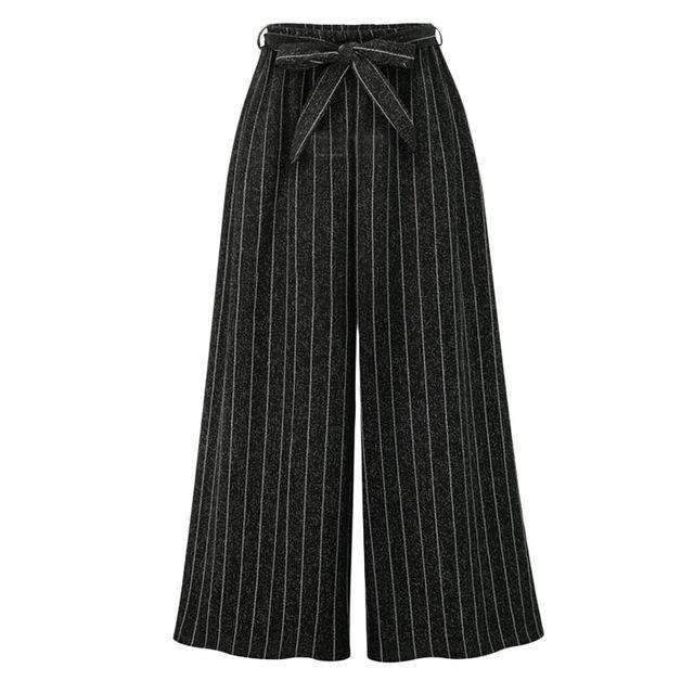 Stripe Lace-Lace-up Ties Tied Loose Pants Plus-Size-[product_tag]-My MALL Metro