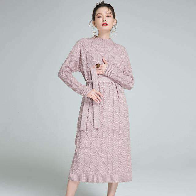 Womens pullover long cashmere sweaters Plus-Size knitted Dress-[product_tag]-My MALL Metro