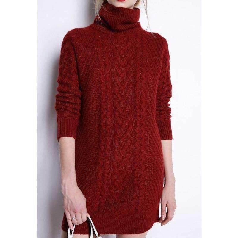 sweaters Womens turtleneck sweater Long sweater Dress Loose knitting  Pullover Womens Sweaters tops- product tag c82d88f117