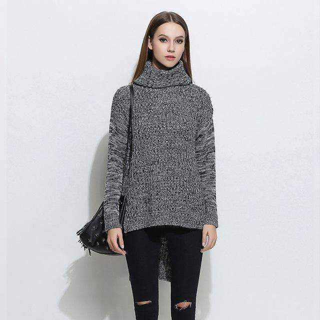 Womens High-necked Low Knitted Sweater Pullovers Sweaters Plus-Size-[product_tag]-My MALL Metro