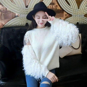 Womens Round-Neck Plus-Size h Tassel Sleeves Splicing Sweater-[product_tag]-My MALL Metro