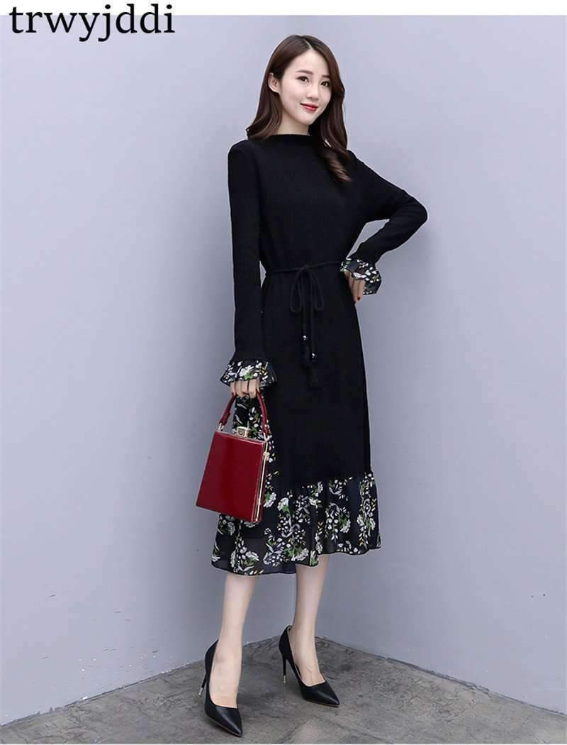 Plus-Size Knitted Floral Woman Dress-[product_tag]-My MALL Metro