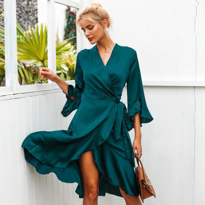 Simplee Elegant women satin solid dress Ruffle flare sleeve sash wrap dress