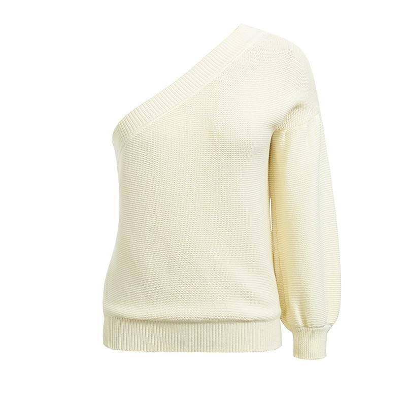 Womens Lantern sleeve solid knitted sweaters-[product_tag]-My MALL Metro