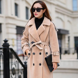 Turn down collar double breasted sashes wool coats-[product_tag]-My MALL Metro