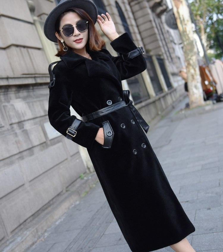 Turn down collar double breasted sashes wool coats