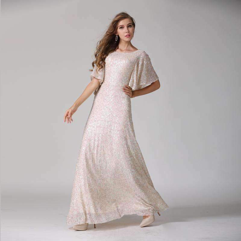 Womens Butterfly-Sleeve O-Neck Stretch Maxi Dress- product tag -My db935f36d6