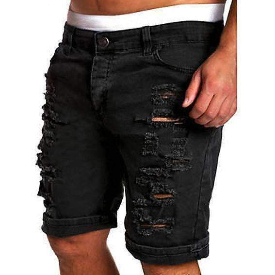 Ripped Mens Denim Shorts Slim Regular Knee Length Short Hole Jeans For Male White Blue Red Coffee