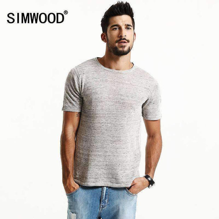 Simwood Brand New Summer Short Sleeve T Shirts Men 100% Pure Linen Fashion Tees Plus Size O Neck Clothing Td1171