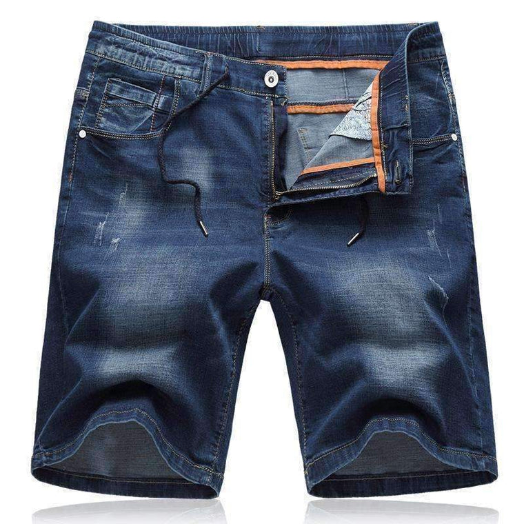 Thin Section Micro Elastic Cotton Casual Denim Shorts Mens Large Size Straight Blue Jeans 4Xl 5Xl 6Xl