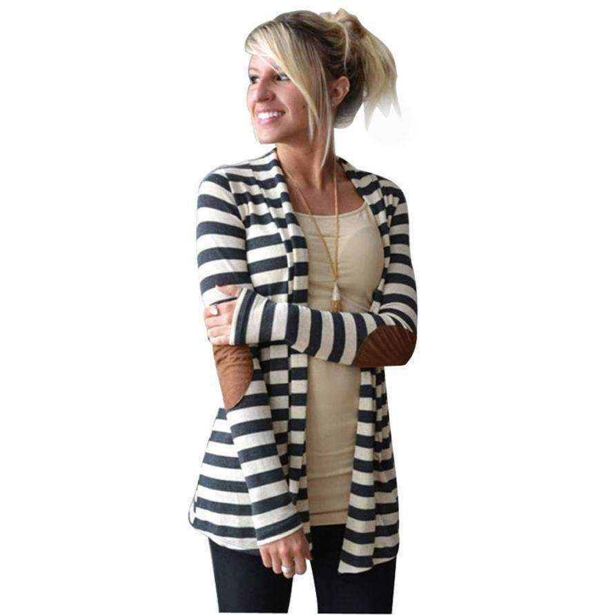 Womens Trench Coats Long-Sleeve Striped Cardigans Patch Outwear-[product_tag]-My MALL Metro