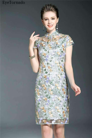 Womens Flower Embroidery Short Bodycon Dress-[product_tag]-My MALL Metro
