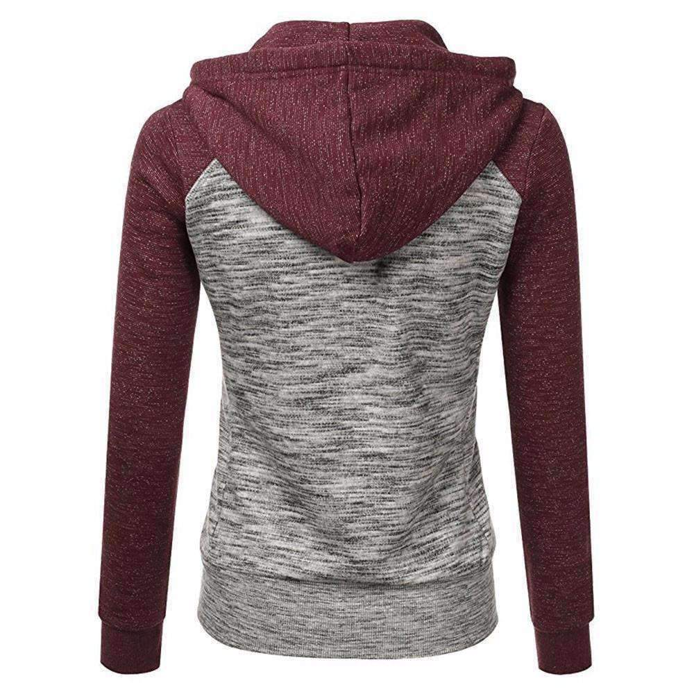 Womens Long-Sleeve Thin Zip Contrast Hood Hoodies Jacket Coat-[product_tag]-My MALL Metro