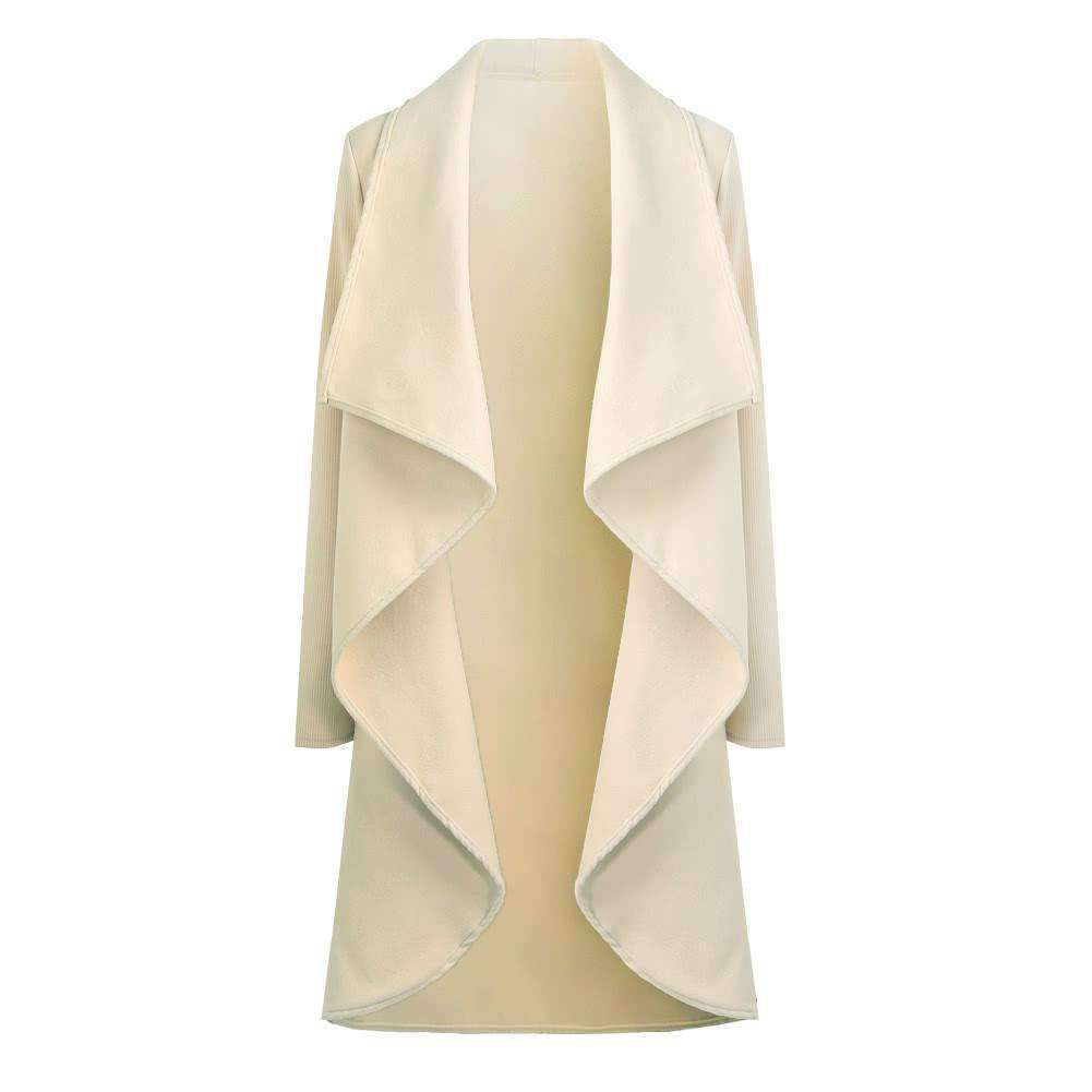 Womens Coat Open Front Waterfall Drape Pockets-[product_tag]-My MALL Metro