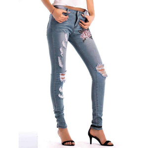 Womens Skinny Ripped Hole Jeans-[product_tag]-My MALL Metro