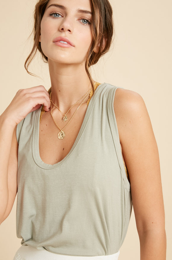 Vanessa Scoop Neck Tank in Sage