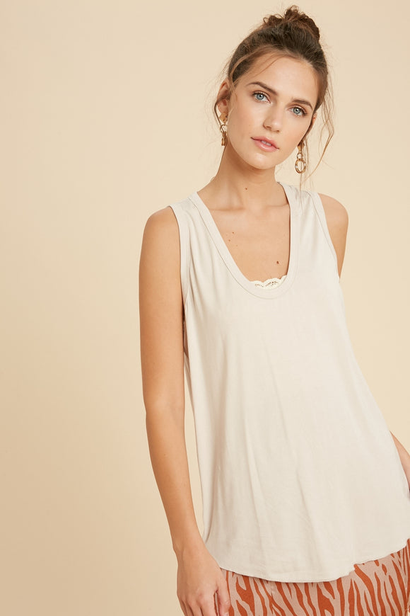 Vanessa Scoop Neck Tank in Taupe
