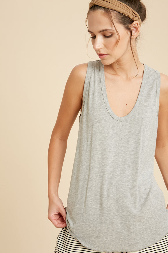 Vanessa Scoop Neck Tank in Grey