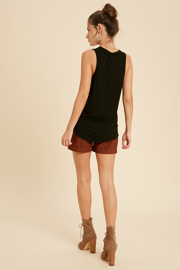 Vanessa Scoop Neck Tank in Black