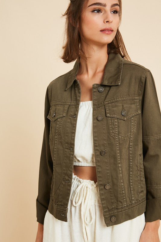 Parker Denim Jacket in Olive