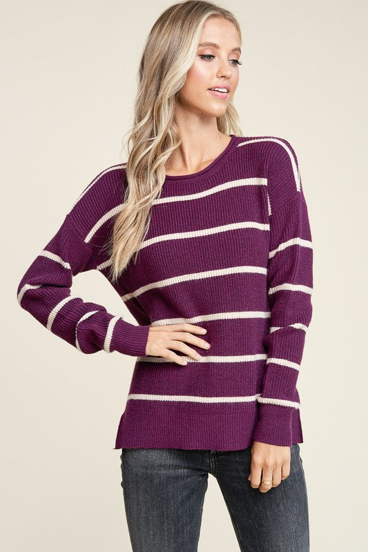 Emmy Striped Sweater in Plum