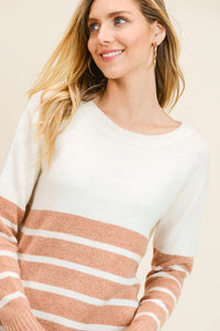 Aiden Color Block Sweater in Rust