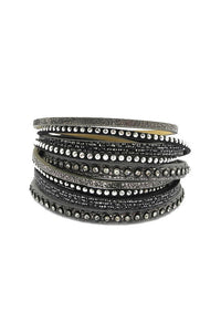 Bohemian Wrap Bracelet in Grey