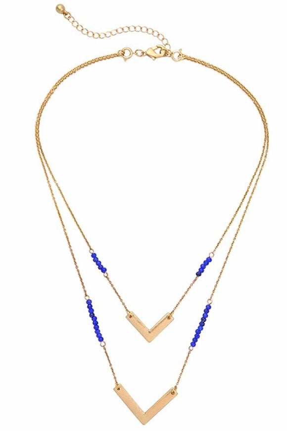 Blue and Goldtone Point Necklace
