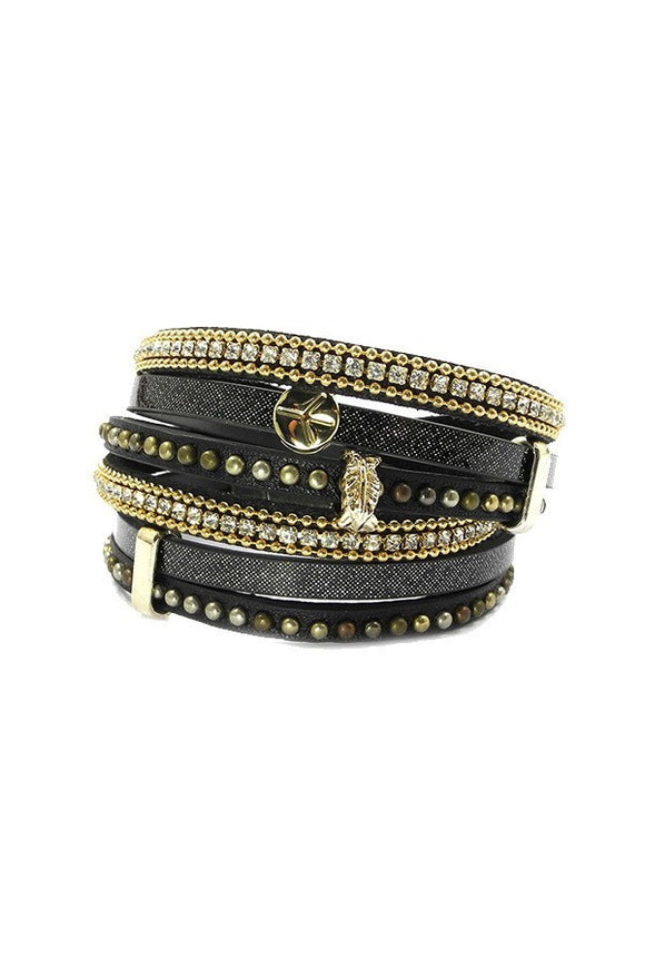 Bohemian Wrap Bracelet in Black/Gold