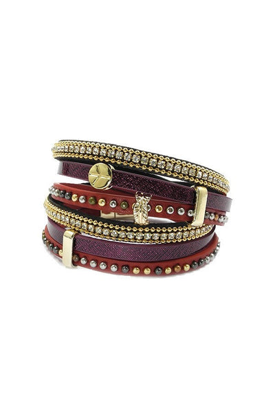 Bohemian Wrap Bracelet in Burgundy