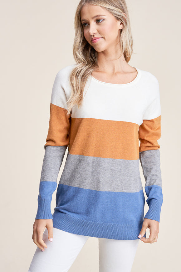 Brooke Color Block Top in Blue/Camel
