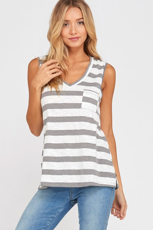 Casey V-neck Tank in Grey