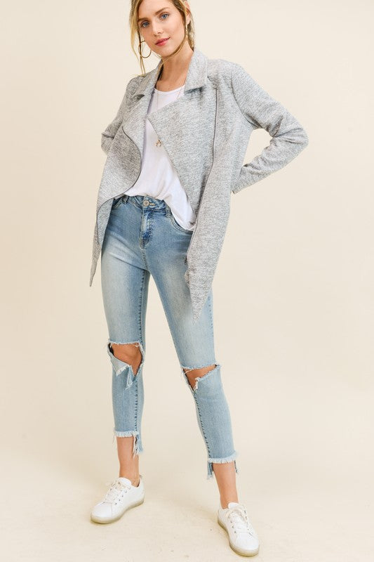 Annabelle Knit Moto Jacket in Grey