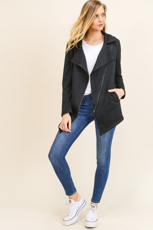 Annabelle Knit Moto Jacket in Black