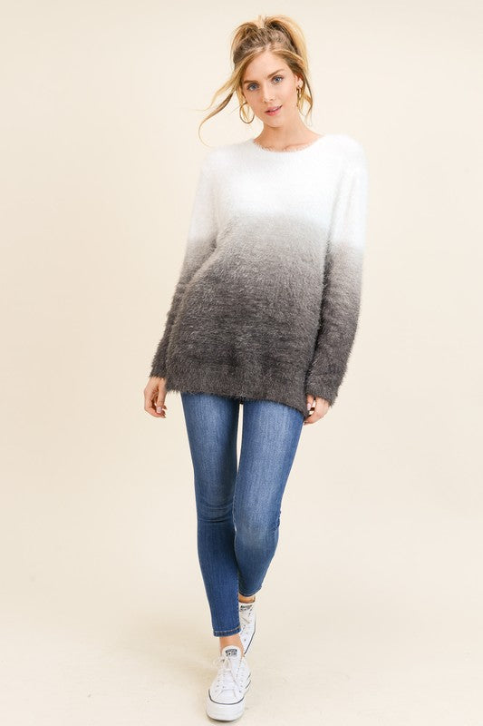 Dip Dye Furry Sweater in Grey