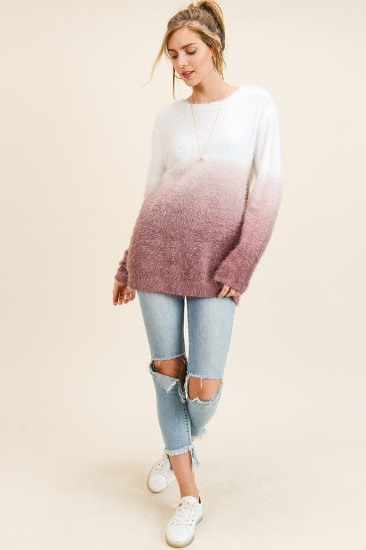 Dip Dye Furry Sweater in Maroon