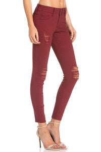 Distressed Skinny Jeans in Brick