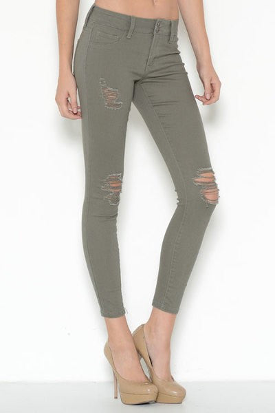 Distressed Skinny Jeans in Olive