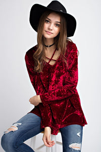 Velvet Crush Criss Cross Top