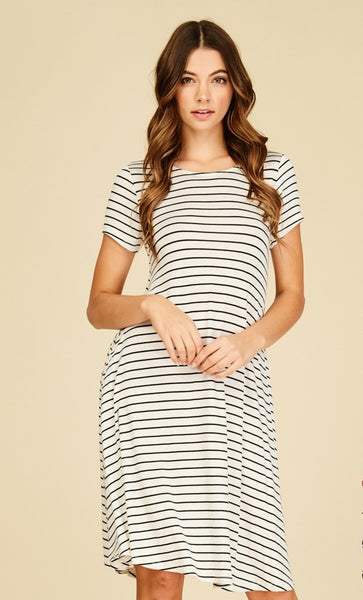 Ivory and Black Striped Dress