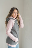 Quilted Charcoal and Pink Double Hoodie