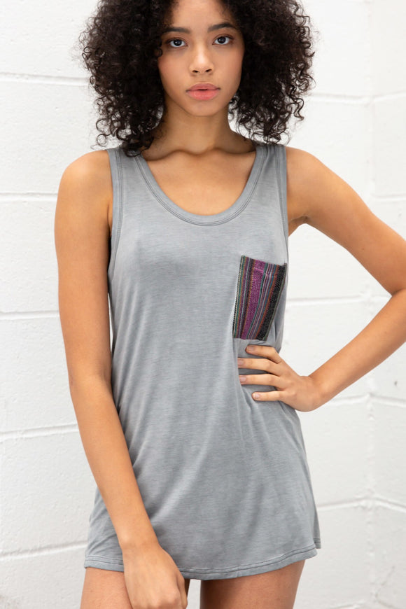 Aztec Pocket Tank in Charcoal
