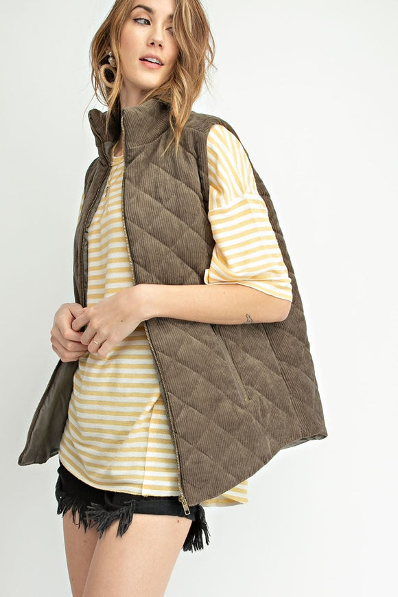 Colbie Corduroy Vest in Olive