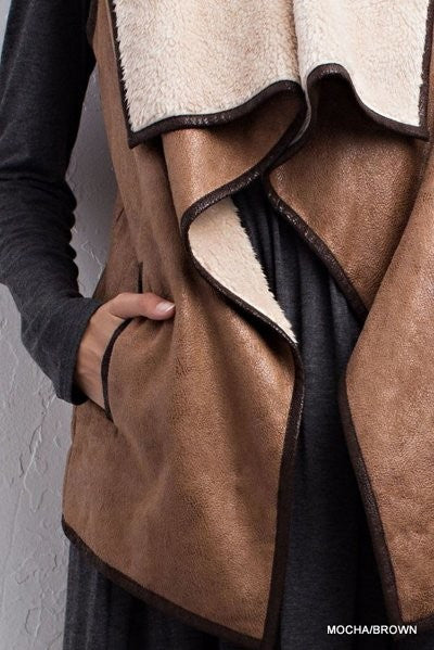 Leather Trimmed Draped Front Vest